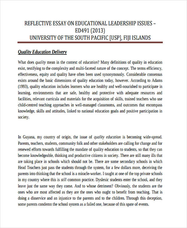 Academic Self Reflection Essay High School