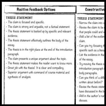 Feedback on writing for students