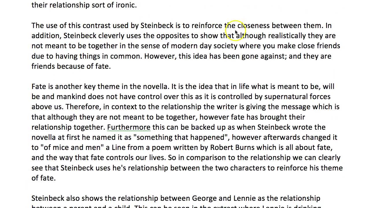 Of mice and men friendship essay