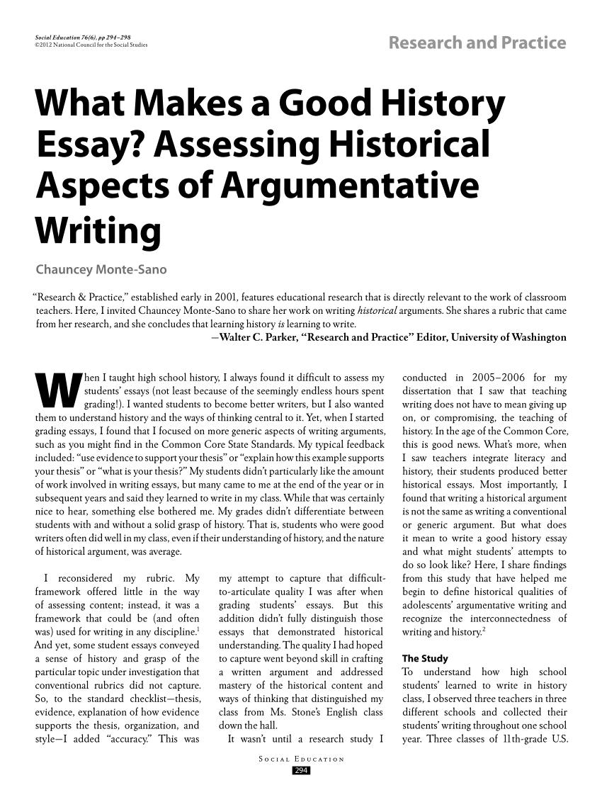 Write history essay