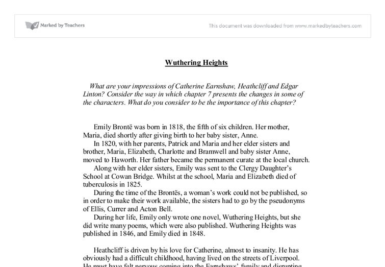 Wuthering Heights Essay | Bartleby